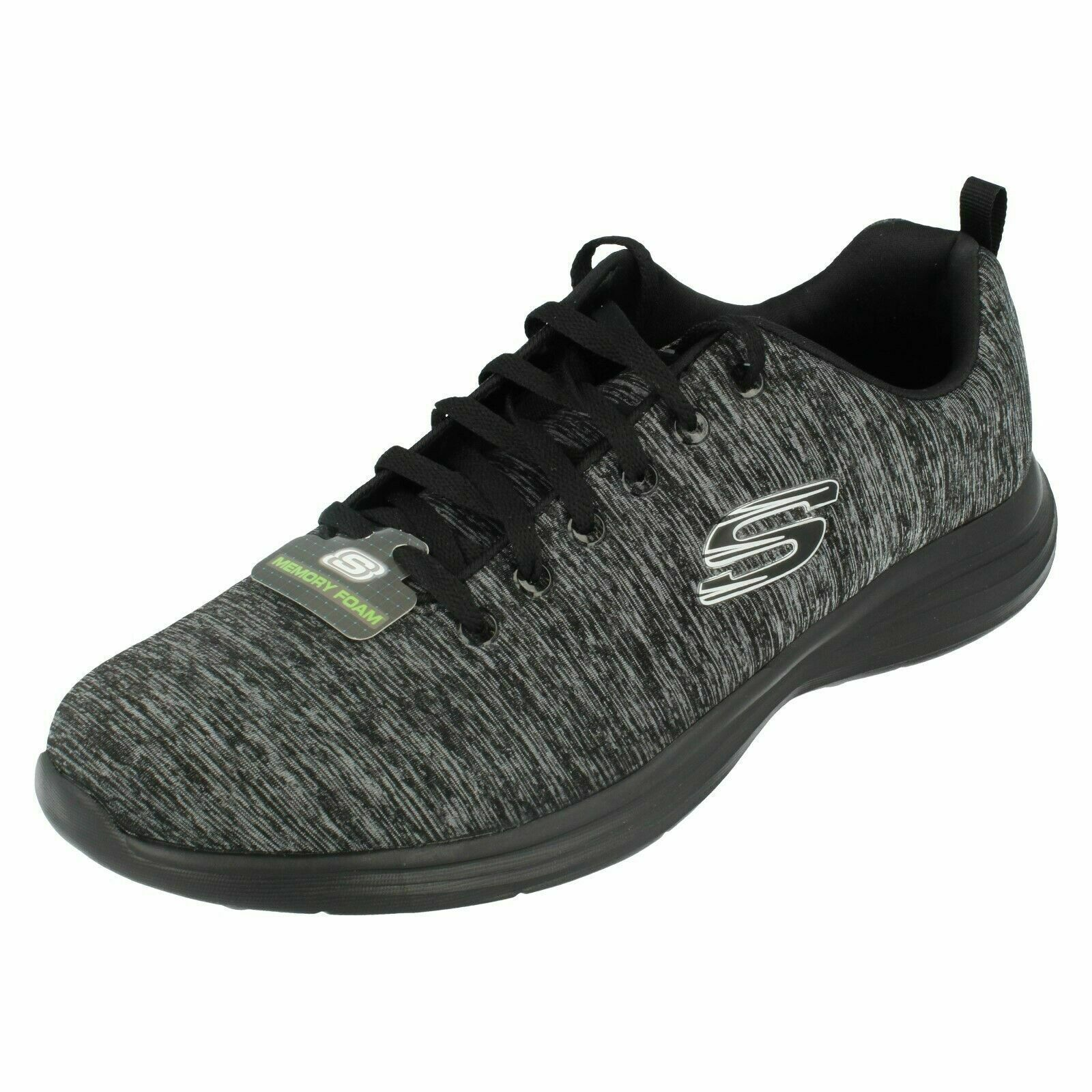 Mens LOW KEY POWER TRIPPI Black Lace Up Memory Foam Trainers By Skechers