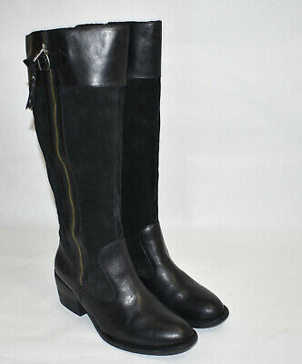 born knee high heel boot black suede and leather size 95