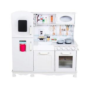 Cucine Giocattolo In Legno Usate.Cucina Giocattolo Per Bambini In Legno Bianco Con Accessori Frigo