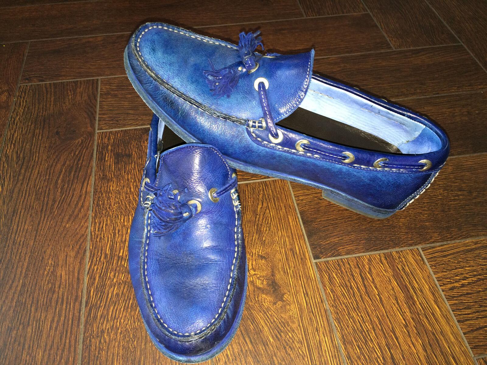 Herren Schuhe Pantofolia D´oro Mokassins Gr. 42,5 Blau Used-look Neuwertig