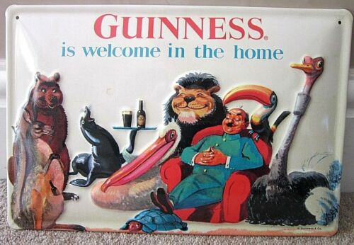 IRISH PUB GUINNESS IS WELCOME IN HOME EMBOSSED METAL ADVERTISING SIGN 30x20cm
