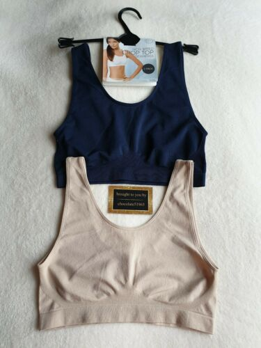 NEW M/&S 2 PACK  NON WIRED SEAMFREE CROP TOPS SIZE SMALL in NAVY MIX