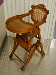 Details About Antique Victorian Wooden High Chair Rocker Converts To 4 Positions Circa 1870