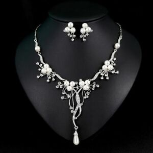 Fashion-Crystal-Pearl-Flower-Waterdrop-Tassel-Necklace-Earring-Jewelry-Set