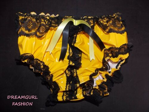 PVC LACE KNICKERS WITH PEEP OPEN FRONT FANCY DRESS SISSY MAID LOLITA COSPLAY