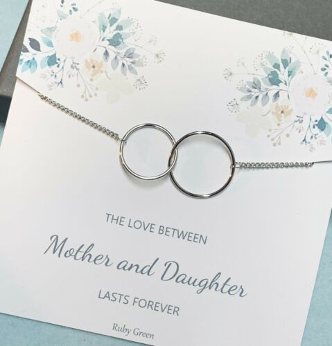 Gift For Mum Daughter Mother /& Daughter Sterling Silver Necklace /& card gift
