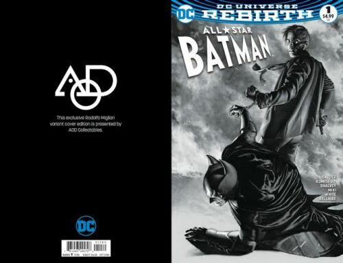 ALL-STAR BATMAN #1 AOD COLLECTABLES RODOLFO MIGLIARI EXCLUSIVE B/&W COVER DC 2016