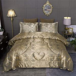 Elegant-Silky-Gold-Jacquard-Paisley-3-pcs-Comforter-Shams-Queen-Set