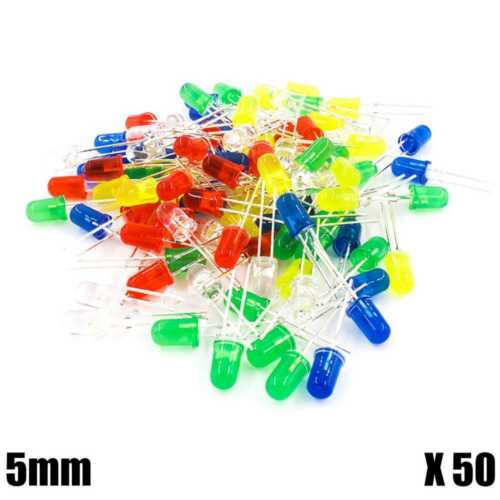 Kit 50 LED 5mm Diodes Colours Red Blue Yellow Green White for Arduino Raspberry Robot