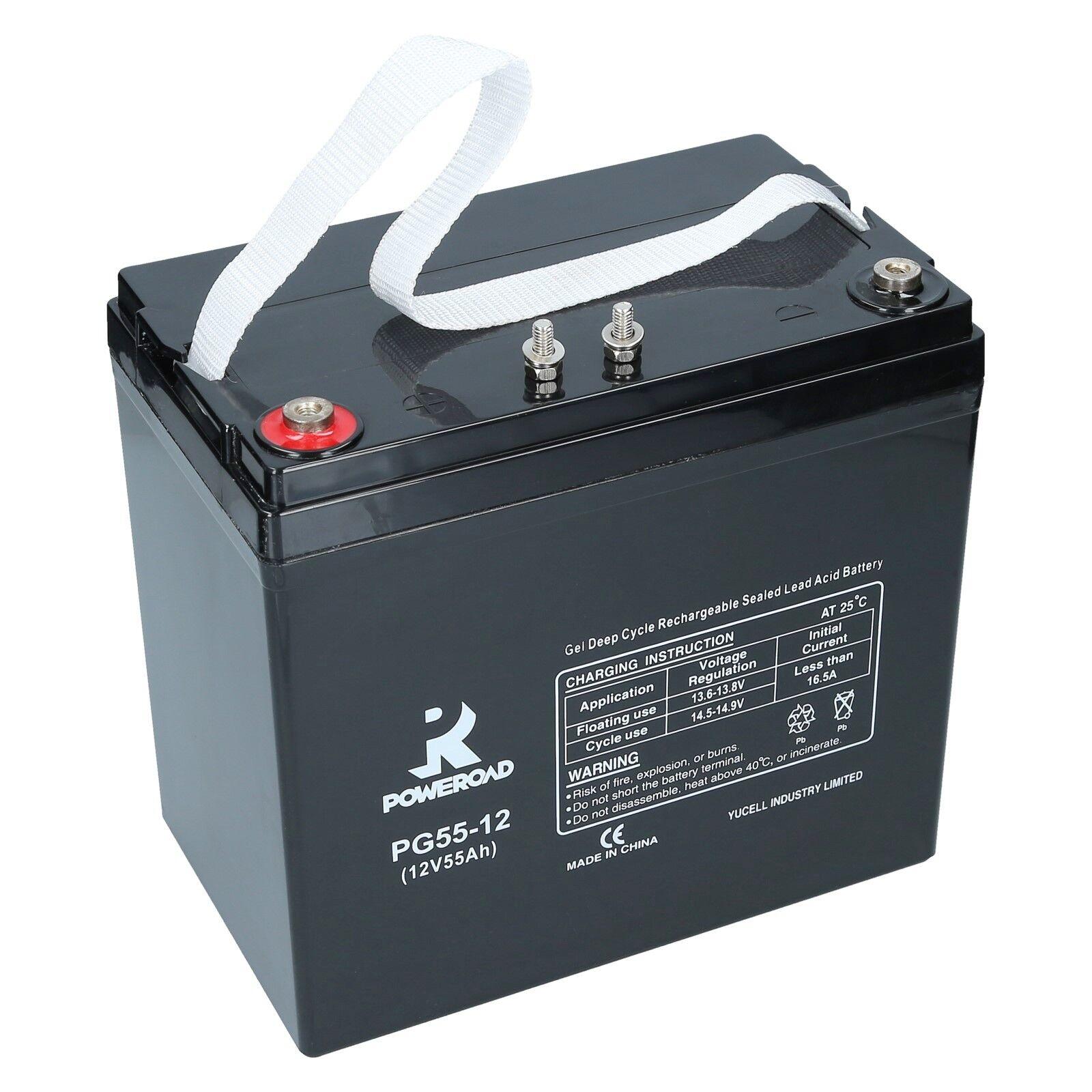 Gel Batterie 12V 55Ah Poweroad PG55 12 Deep Cycle GEL Rollstuhl, Elektromobile