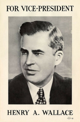 4406 Original 1940 Henry Wallace for Roosevelt VP Campaign Poster