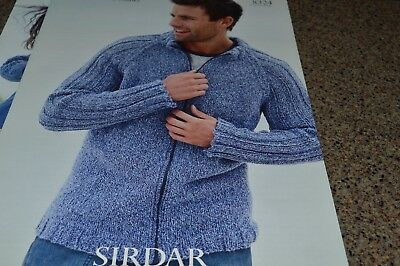 Sirdar Knitting Pattern 8324 Denim Chunky Men Jacket 36-46 ...