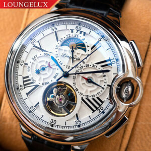 Mens-Silver-Chrome-Flywheel-Skeleton-Automatic-Mechanical-Wrist-Watch-Silver