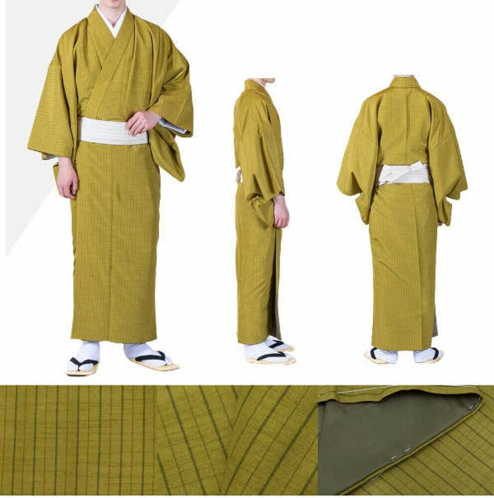 Japanese Traditional Men's Lined Pongee Kimono Striped Green Japan Tracking