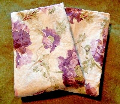 2 Rare Ralph Lauren Violette Sateen King PillowCases Drawing Room Collection