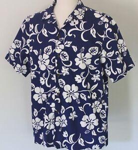 2f65750ff503e Men s XL RJC Navy Hibiscus Cotton Aloha Hawaiian Shirt