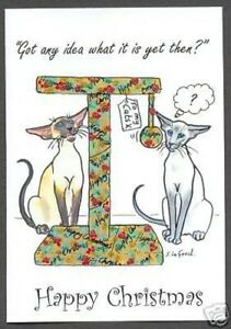 Siamese Cat art nouveau birthday card from original painting by Suzanne Le Good