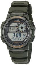 Casio Men's World Time 100m 10-Yr Battery Life Green Resin Watch AE1000W-3AV