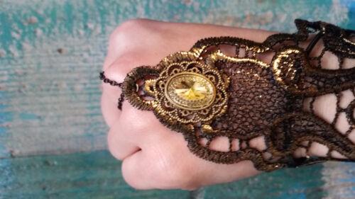 Handschuhe Stulpen golden schwarz Steampunk Gothic Kostüm Karneval