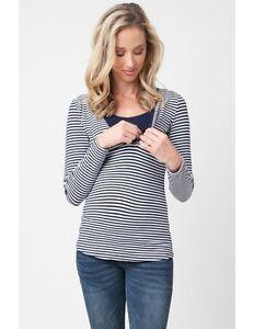 26eac736d4 Ripe Maternity Penny Nursing Top Long Sleeve Navy White Stripes - M ...