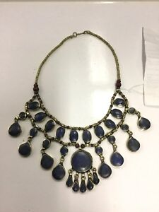 New-Ladies-Kuchi-Tribe-Hippie-Festiveal-Boho-Lapis-Necklace