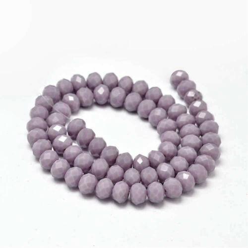 1 Strand BD1237 70 Opaque Glass Beads Purple Faceted Rondelles 8mm x 6mm