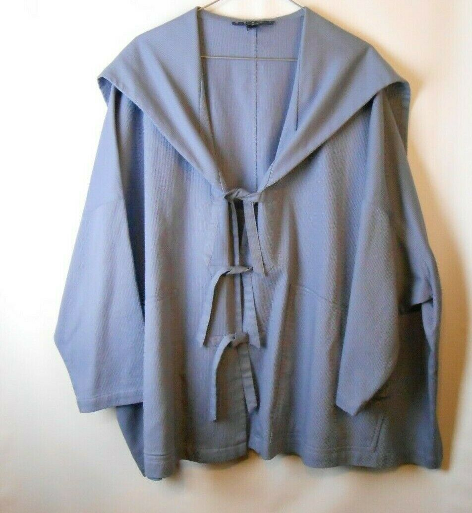 Women's BASCO Size Small Large bluee Tie Front Hoodie Oversize Fit