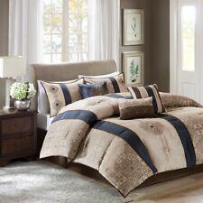 7 Piece Comforter Set Draped Faux Silk Dupioni Oversized//Overfilled King Size