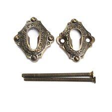 PZ Sicherheits-Schlüsselrosette Jugendstil Messing antik  (#38-4-A)