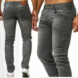 Herren-Jeans-Slim-Fit-Hose-Denim-Grau-Klassisch-Schwarz-Stonewashed-Stretch-Used