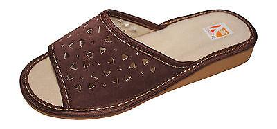 Nueva camiseta para mujer de cuero cómoda puntera abierta Resbalón en Zapatillas De Casa Zapatos UK 4 - 7.5