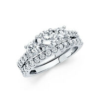 925 Sterling Silver 3.0 Ct Diamond Ring Set Engagement Ring With Wedding Band