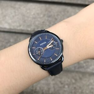 Fossil-Watch-ES4092-Tailor-Rose-Gold-and-Blue-Leather-for-Women-COD-PayPal