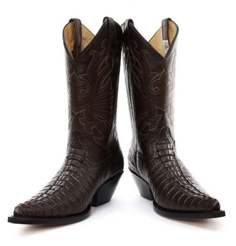 TRITATUTTO Marrone Uomo stampa coccodrillo da Uomo Marrone Stivali Cowboy Western 94dd74
