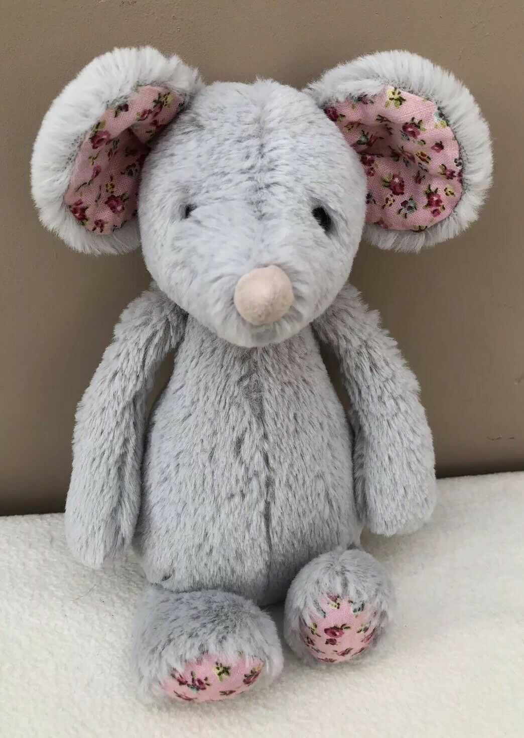 Jellycat Small Bashful Blossom Grey Mouse Soft Toy Comforter Pink Floral Ears