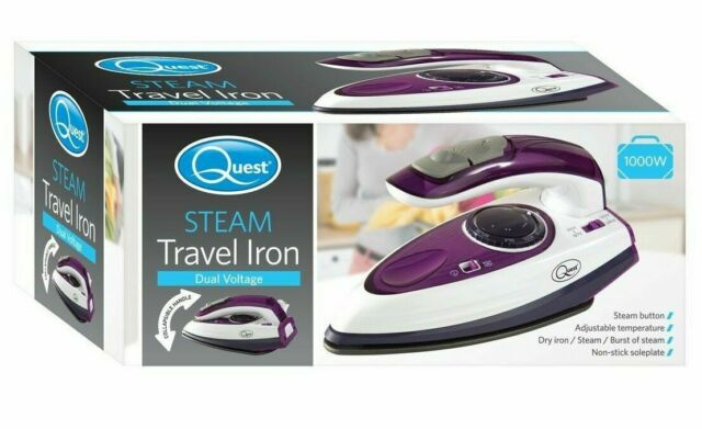 Quest Travel Steam Iron - 1000w Collapsible Mini Iron, Portable, Ergonomical