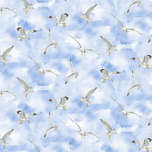 3 Wishes Fabric At The Shore Seagulls Blue Per 1//4 Metre