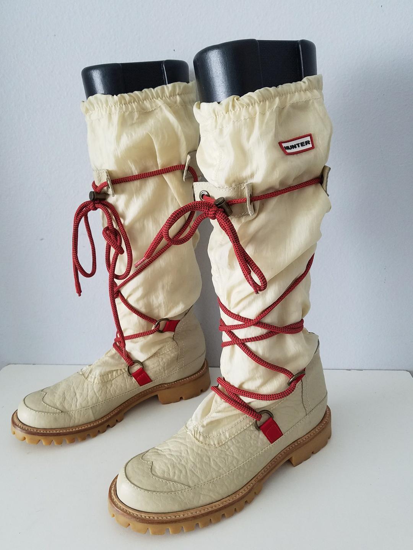 Hunter Amazonas Summit Waterproof Leather Textile Stiefel Größe 7 Cream