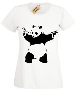 Banksy-Panda-T-Shirt-Womens-Ladies-Urban-Graffiti-Cool-tee-top
