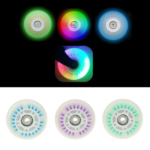 Details about  /AA 4x 76 80mm Skating LED Leuchtend blinkende Inline-Rollschuhe Schuhe Räder