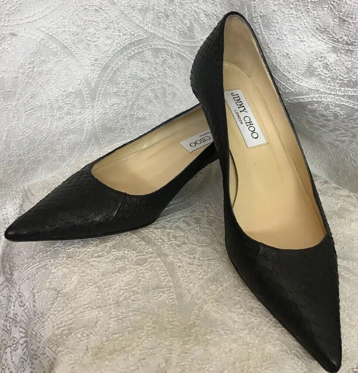 Jimmy Choo shoes Kitten Heel Black Snake Pointed Toe Size 36