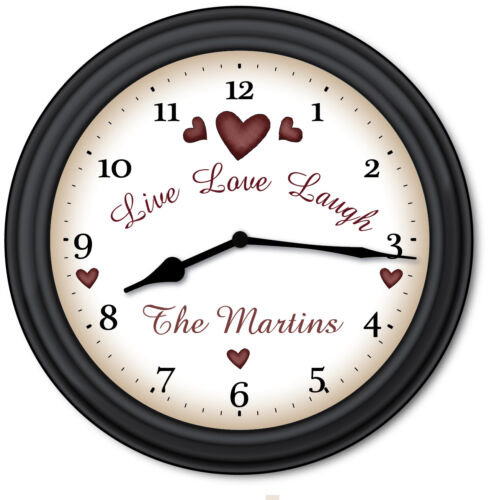 Primitive Country Decor Live Love Laugh Family PERSONALIZED Wall Clock GIFT