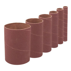 6-PACK-114mm-Tall-Mixed-Size-Bobbin-Sanding-Sleeves-80-Grit-Aluminium-Oxide