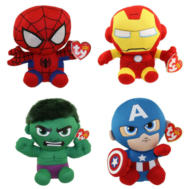 Set of 4 Ty Marvel Beanie Baby Spider-man Hulk Iron Man   Captain America 1b73828e98d
