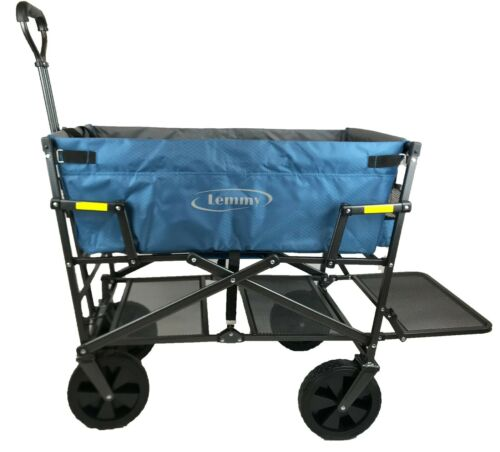 Lemmy Bollerwagen faltbar LMY300 klappbar Doppeldecker Blau+Grau
