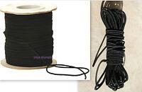 3mm x 5 METERS BLACK STRONG ELASTIC BUNGEE ROPE SHOCK CORD TIE DOWN FREE POST