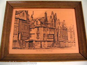 John-Knox-039-s-House-Edinburgh-Copper-Etchmaster-Original-Framed-Ready-to-Hang