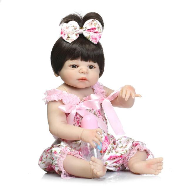 22'' Lifelike Reborn Baby Doll Girl Full Body Vinyl Silicone Handmade Kids Toy