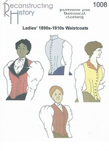 Details Zu Schnittmuster Rh 1008 Paper Pattern Ladies Vest For 1890s To 1910s