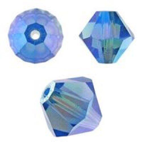144 PCS 4mm Approx 5328 Sapphire AB Color Genuine Swarovski Bicone
